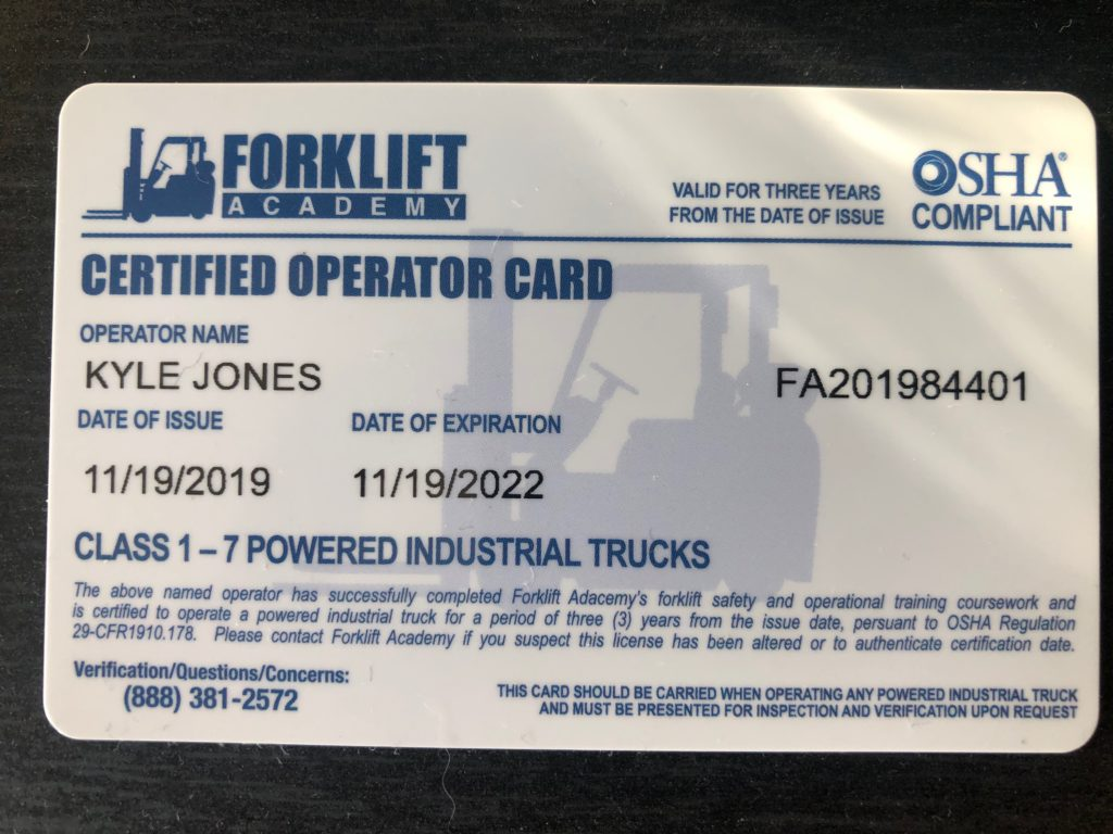 Forklift Operation Cert Front